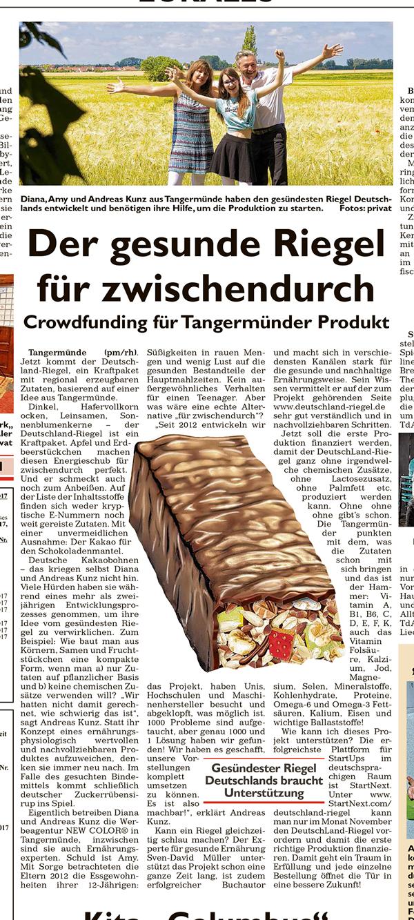 General-Anzeiger, Zeitungsartikel, Deutschland-Riegel, 5.11.2017