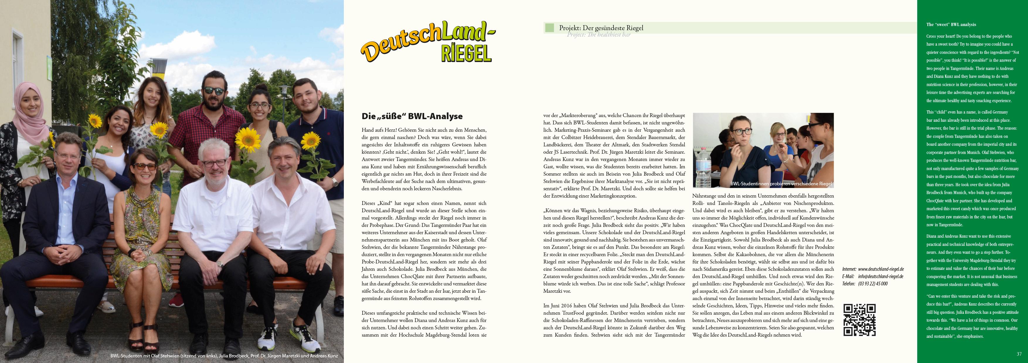 Zeitungsbeitrag Altmark-Wirtschaftsbroschüre »Wirtschaft – Wachstum – Visionen« 2015, Textbeitrag zum Projekt DeutschLand-Riegel, von Anke Hoffmeister