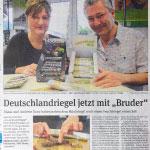 Zeitungsartikel, Volksstimme, DeutschLAnd-Riegel, blackbar, Anke HGoffmeister, Bericht über die neuen Riegel und die entstehende Plattform für regionale Produkte
