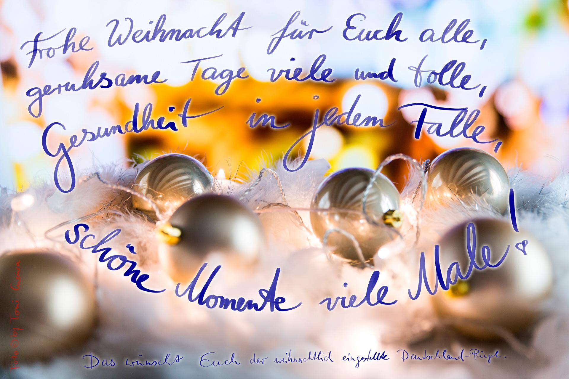 Frohe Festtage wünsche Euch mit einigen kreativen Zeilen der DeutschLand-Riegel!, Gedicht, zur Weihnachtszeit