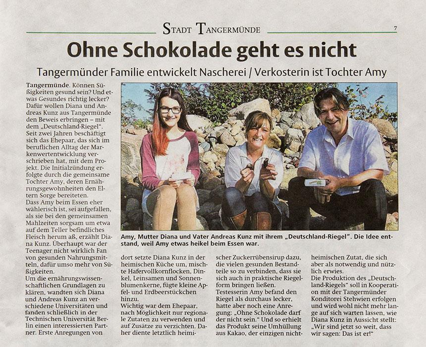 Presse-Artikel der Altmark-Zeitung, November 2015