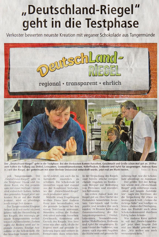 Presse-Beitrag der Altmark-Zeitung, Foto Copyright Petra Braig, DeutschLand-Riegel