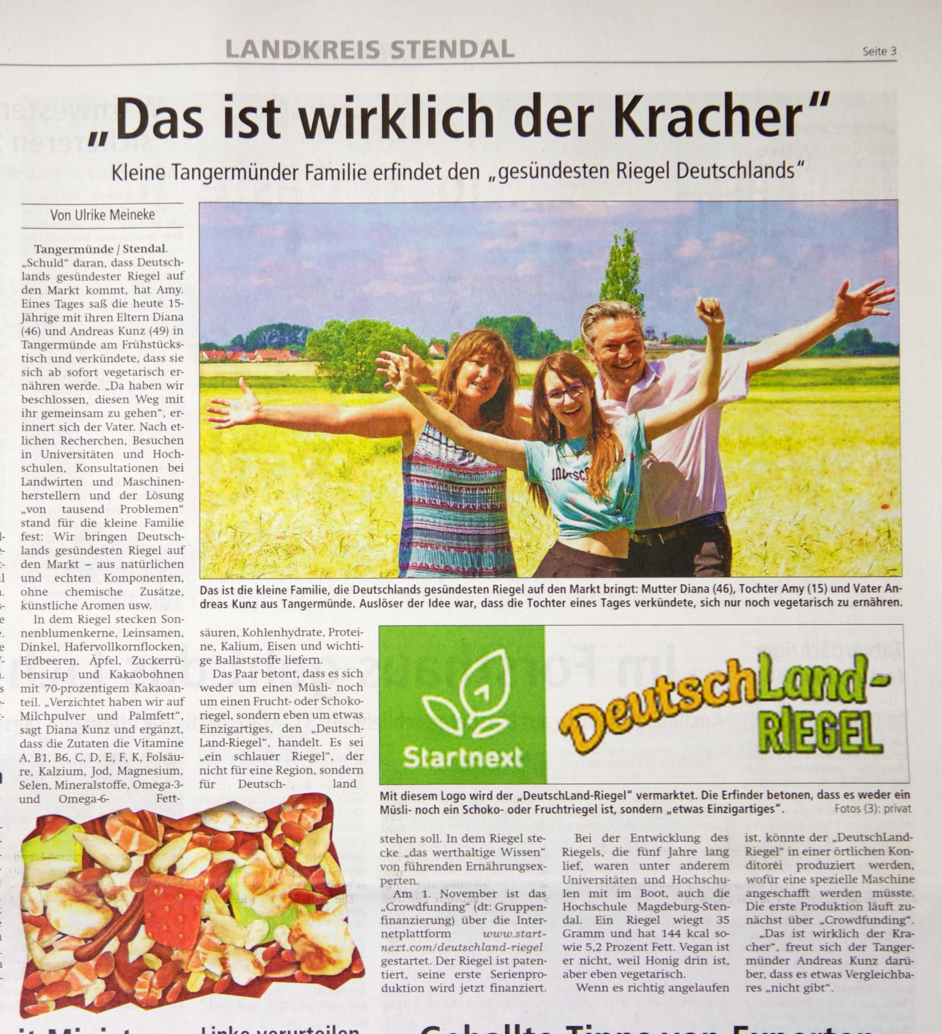 Altmark-Zeitung, Zeitungsartikel, Zeitungsbeitrag, vom 4.11.2017, DeutschLand-Riegel, Crowdfunding