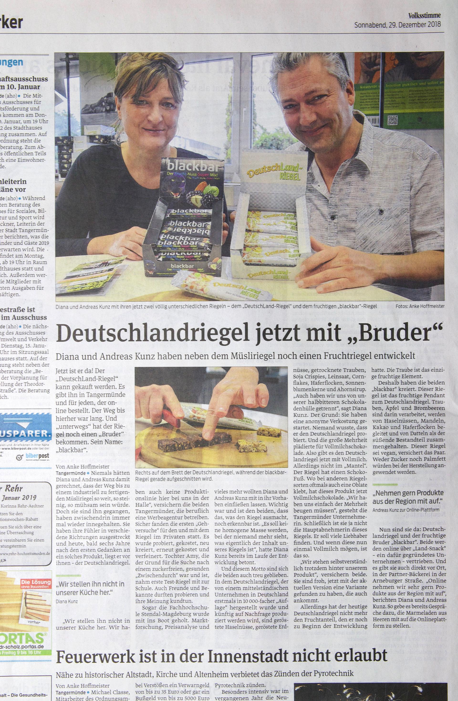 Zeitungsartikel, Volksstimme, vom 29.12.2018, DeutschLand-Riegel, blackbar