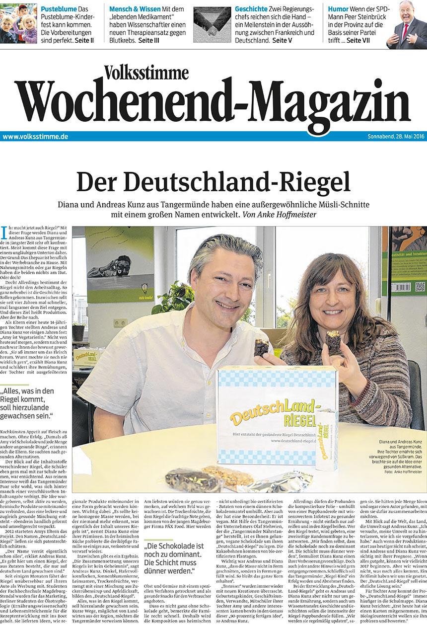 Volksstimme, Wochenend-Magazin, Zeitungsbeitrag vom 28.3.2016, Anke Hoffmeister, Deutschland-Riegel