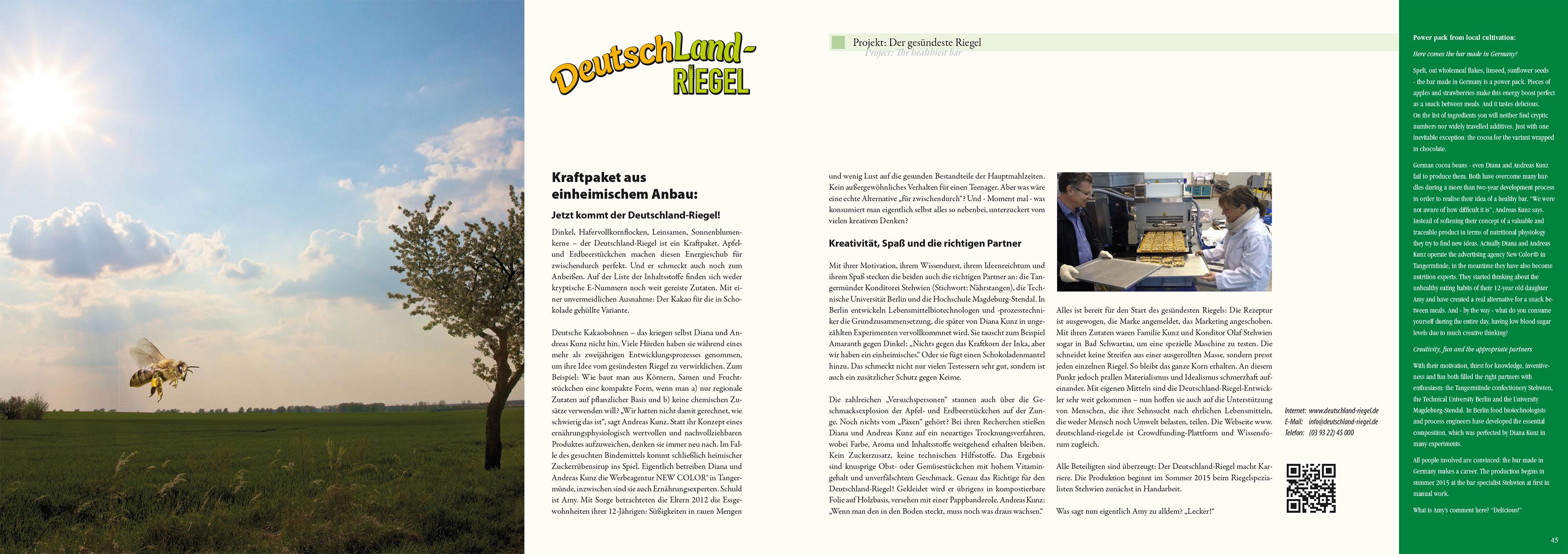 Altmark-Wirtschaftsbroschüre »Wirtschaft – Wachstum – Visionen« 2015, Textbeitrag zum Projekt DeutschLand-Riegel, von Edda Gehrmann