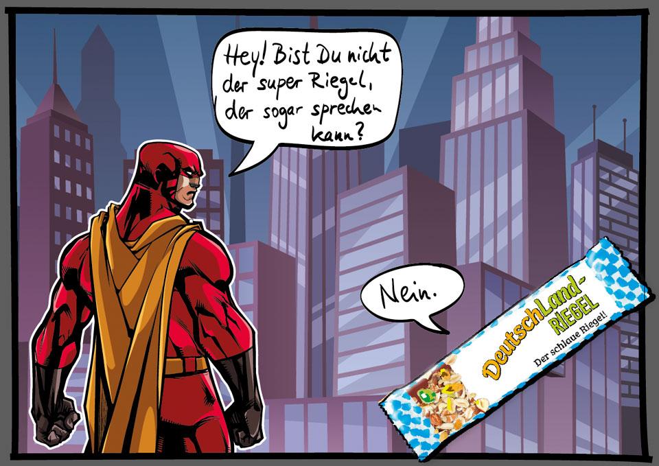 Superheld, SuperHero, spricht mit DeutschLand-Riegel, comicartige Szene, Meme, Spaß, lustig