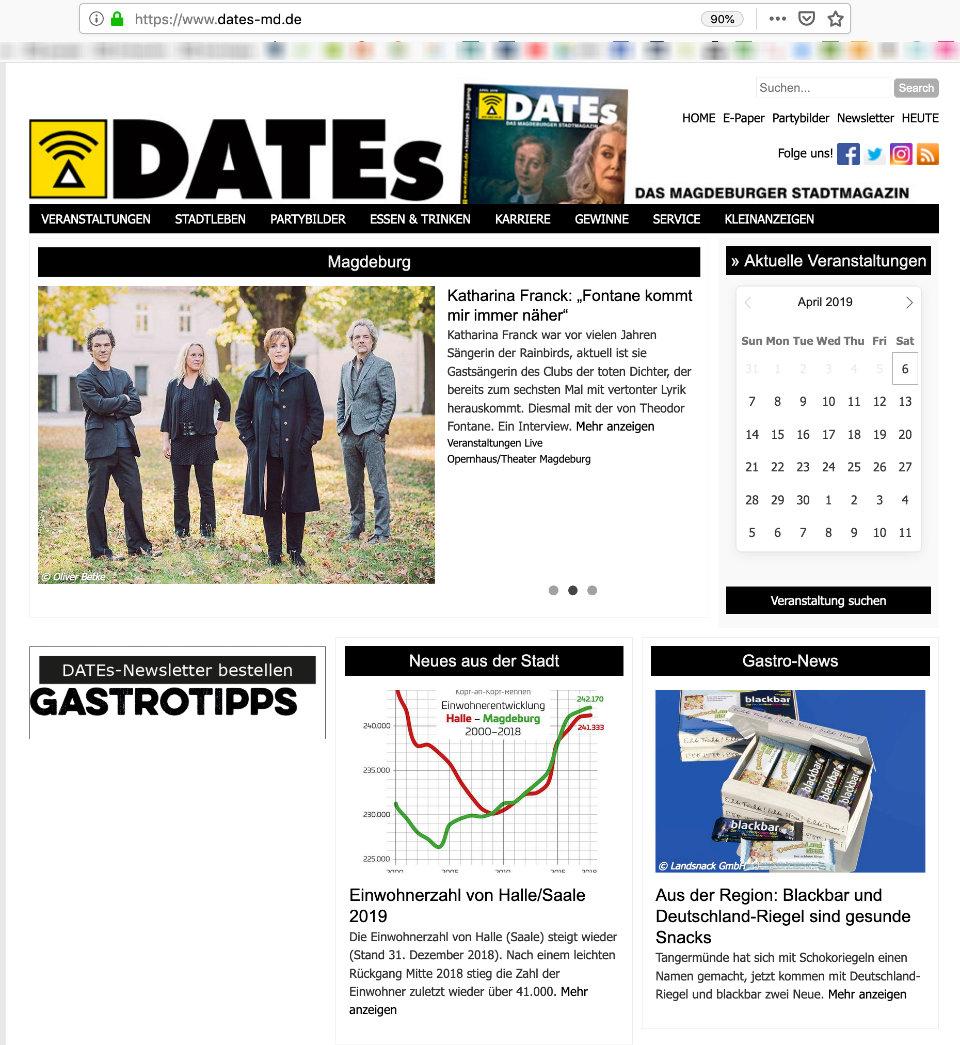 DATES das Magazin, Startseite, Webseite