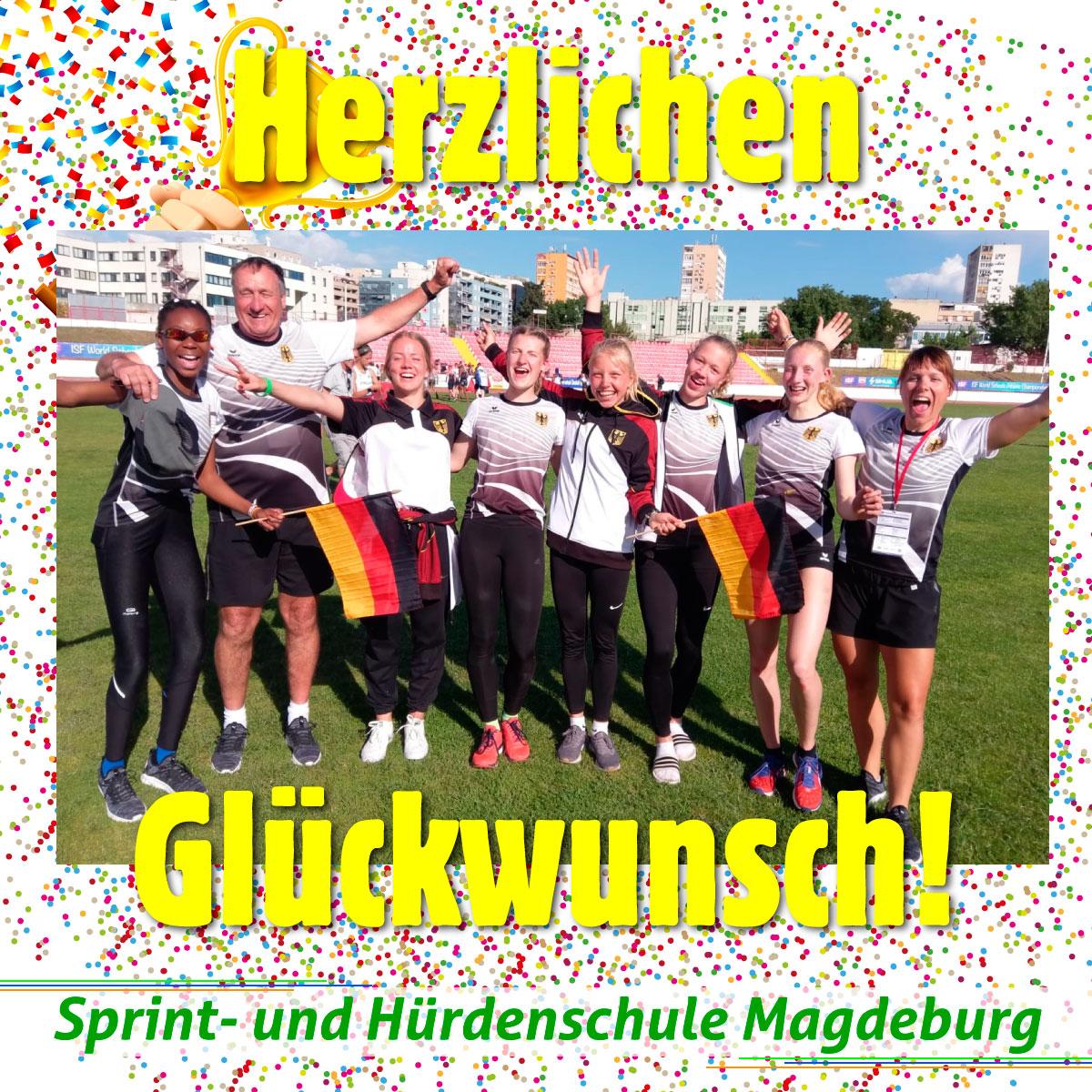 Sprintschule, Hürdenschule, Magdeburg, Weltmeisterschaft, Gewinner, Sieger, Herzlichen Glückwunsch zum SCHÜLERWELTMEISTER