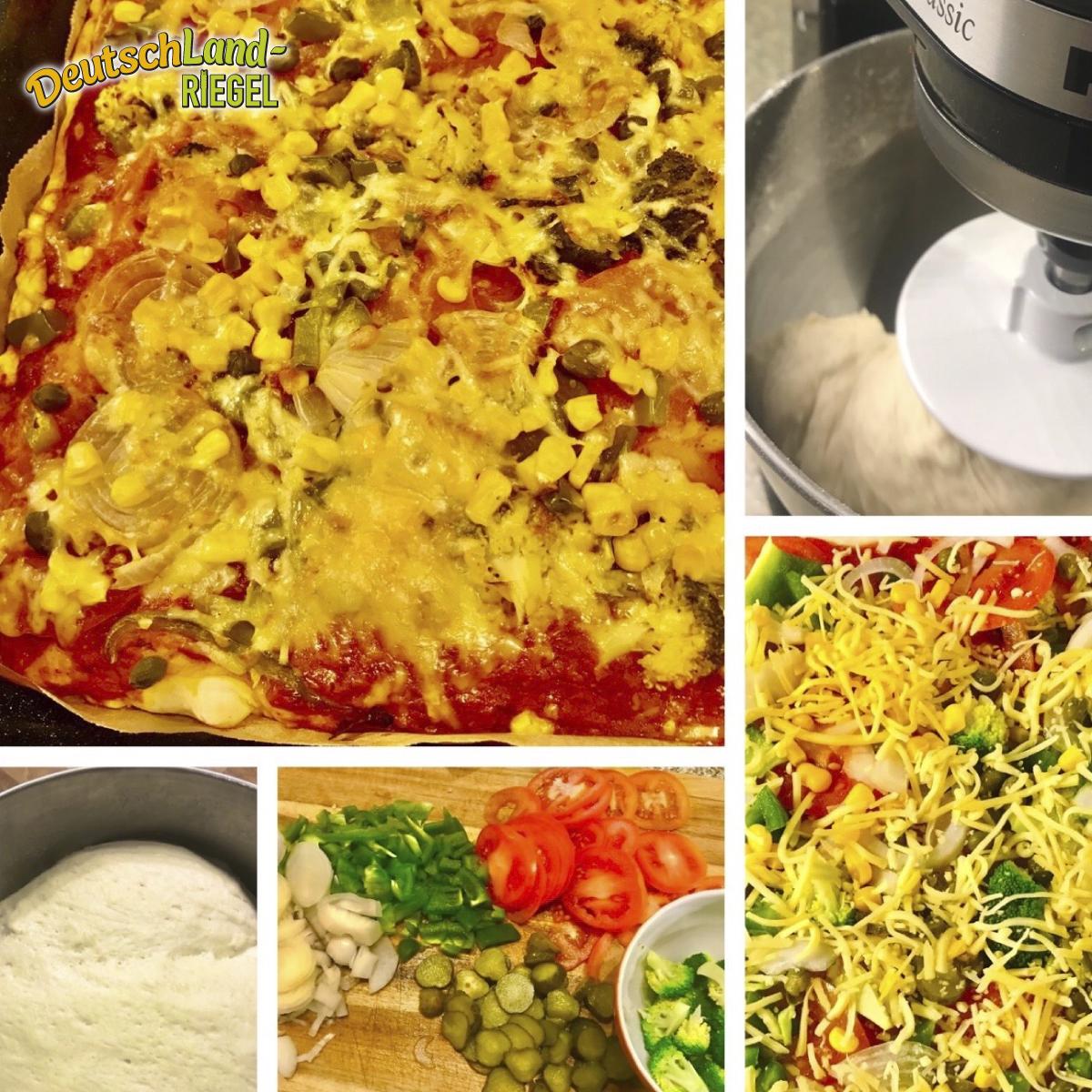 Pizza, eine gesunde Zubereitung, 1000er Weizenmehl, Dinkelmehl, Roggenvollkornmehl, Paprika, Tomaten, Zwiebeln, Gewürzen, vegan oder mit Goudakäse